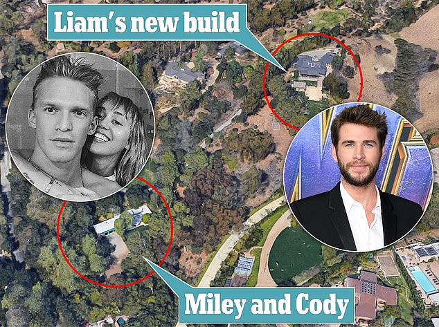 Neighbours: According to New Idea, the actor is rebuilding the couple's former mansion (right), which burned down last year, with Miley now living next door with Cody (left)