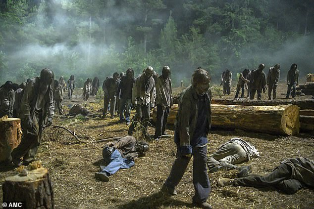 Under attack: Walkers swarmed the area as the survivors were faced with yet another setback