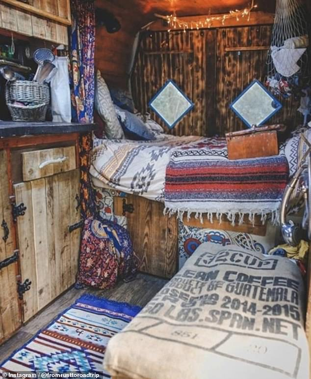 Another adventurer, currently staying in Hungary in her rusty LDV Convoy that was manufactured between 1996 and 2006, kitted out the interior with bespoke wooden cupboards, lights and nets, which act as storage