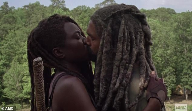 Tender moment: Michonne and Ezekiel surprisingly kissed each other