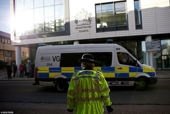 Police guardChelmsford Magistrates' Court today where the lorry driver at the centre of scandal was in the dock