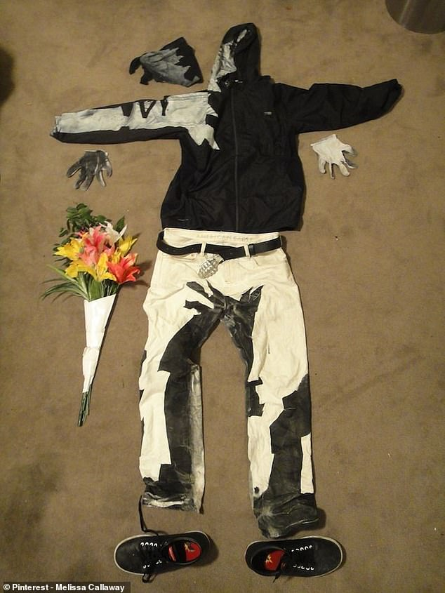The Banksy outfit laid out - make sure you wait for the paint to dry before you put it on mind