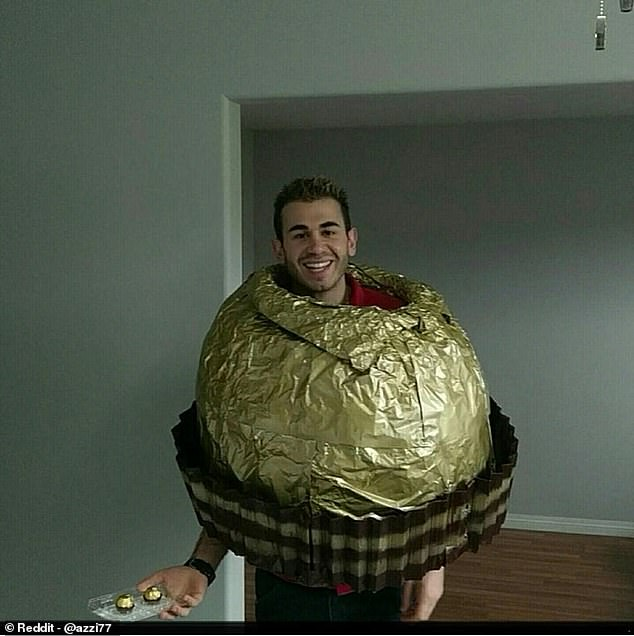 Ever wanted to pretend you were a delicious hazelnut treat while offering fellow party guests the same delicious hazelnut treat? Now's your chance! This Ferrero Rocher costume isn't the easiest of the bunch, but the pay off of gasps from your adoring fans may be worth it