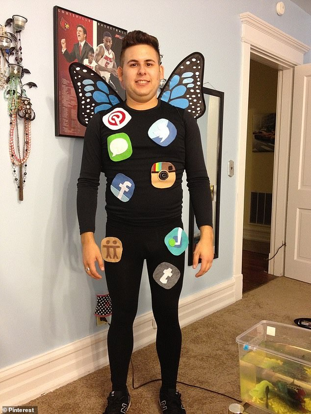 This clever 'social butterfly' costume is completely customisable, you can choose the social apps to your heart's delight. A couple of basics like Facebook or Instagram wouldn't go amiss so that guests 'get it', but after that, you can have as much fun with the apps as you please