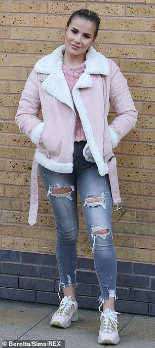 Shearling: Georgia Kousoulou joined the gang in a pink shearling jacket and ripped faded jeans