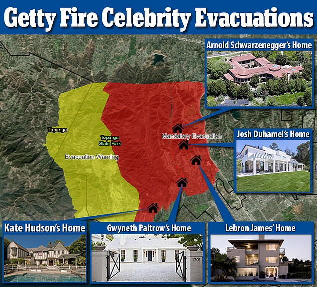 Evacuated: The homes of Kate Hudson, Gwyneth Paltrow, LeBron James, Josh Duhamel, and Arnold Schwarzenegger are located in an area under mandatory evacuation orders