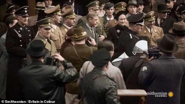 Video shows Robert Ley, one of Adolf Hitler's inner circle who headed the German Labour Front from 1933 to 1945, meeting Edward VIII and Wallis Simpson at a train station in Berlin