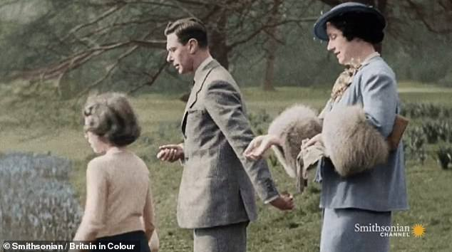 The children are seen feeding ducks and playing with a ball in the video at Buckingham Palace