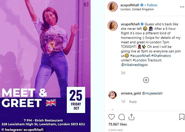 Miss Kareem appeared at a meet-and-greet with fans at a Nigerian restaurant in Lewisham, South East London, which she publicised on her Instagram account last week