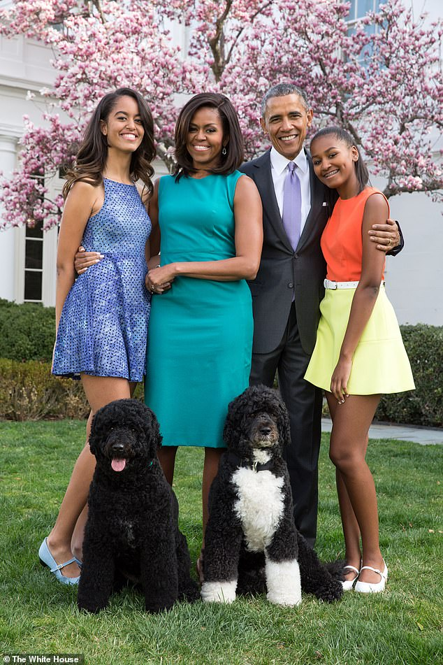 The Obamas in front of the White House during President Barack Obama's second term in office. Michelle Obama said: 'Being the first black First Family gave America and the world the opportunity to see the truth of who we are as black people'