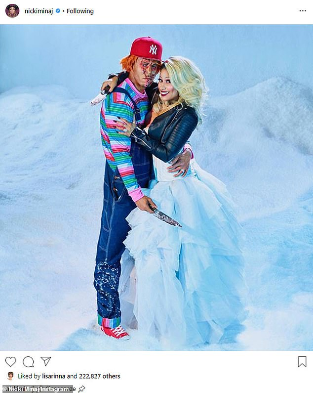 Bloody cute couple: Nicki and Kenneth, married as of last Monday, dressed in costumes for Halloween inspired by the murderous dolls Chucky and his Bride