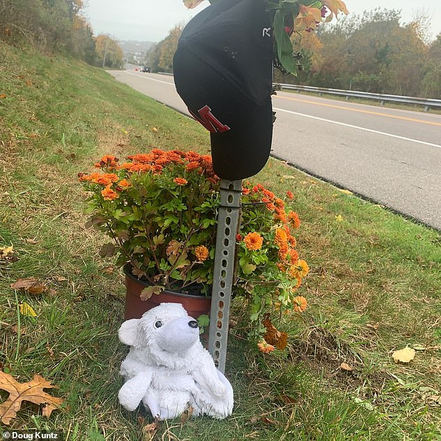 A makeshift memorial honoring Usma-Quintero is pictured at the scene of the fatal crash