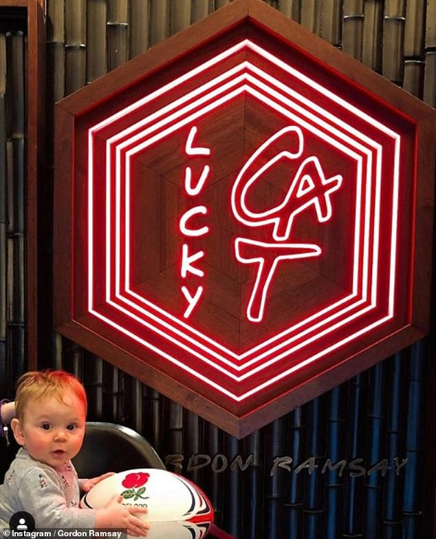 Rooting for England: Gordon Ramsay shared a sweet snap of his seven-month-old son Oscar rooting for England ahead of the Rugby World Cup final on Saturday