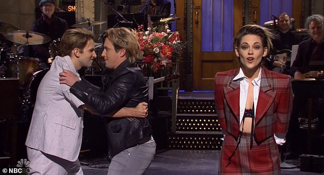 Raunchy show: Kristen Stewart, 29, returned to 30 Rockefeller Plaza in New York City for her second go at hosting Saturday Night Live. She shone in a later sketch as a clubgoer trying to spark a threesome with a conservative churchgoing couple