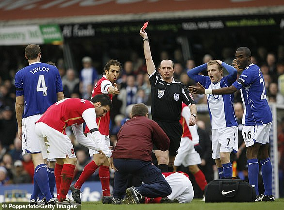 Eduardowas on the end of a shocking tackle from Birmingham City's Martin Taylor in 2008