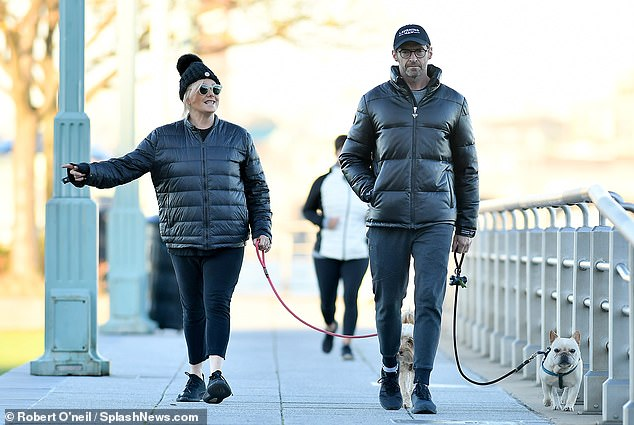 Same stylist?Similarly, Hugh opted for a near-identical puffer coat, casual jogging trousers and a pair of black trainers for their Saturday stroll