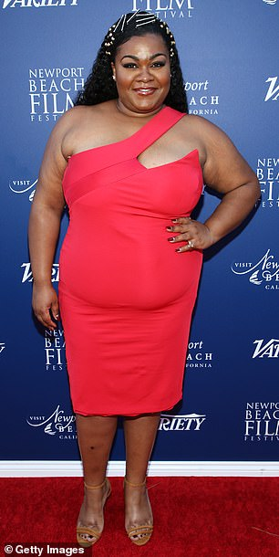 Lady in red: Da'Vine Joy Randolph dazzled in a red one-shoulder dress, which hugged her gorgeous curves