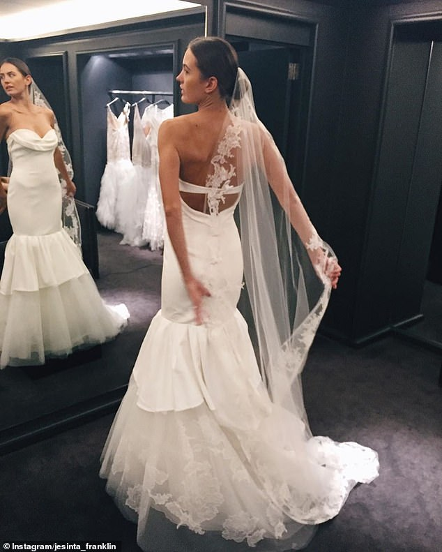 Fit for a princess: Jesinta showed off the mermaid-tale gown with tulle veil as she tried it on for the first time a year before her wedding in 2016