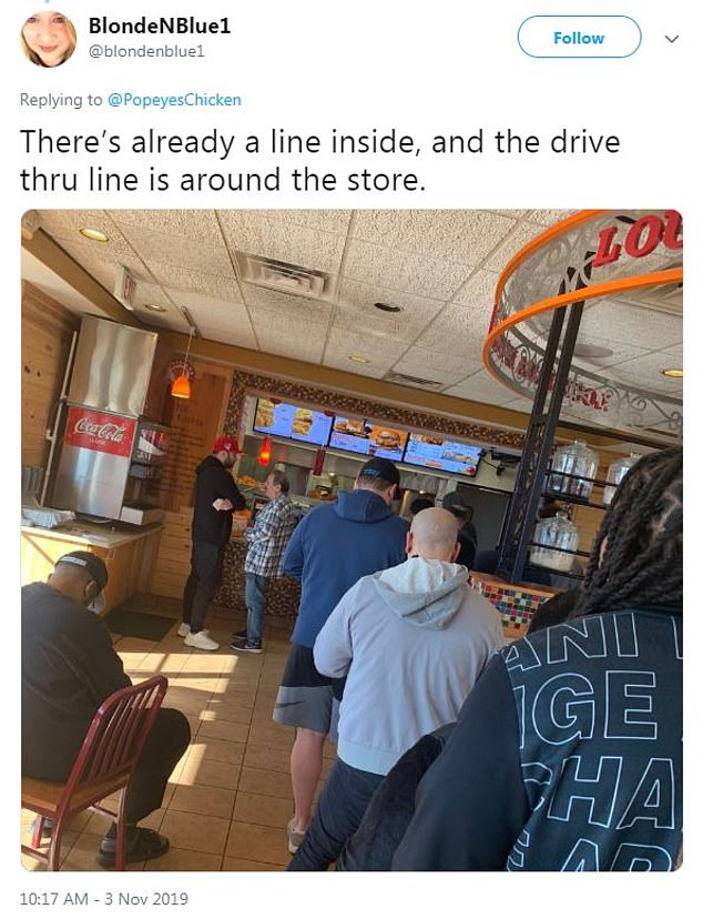 This Twitter user in Washington DC shared a picture of the crowded Popeyes line at her local chain