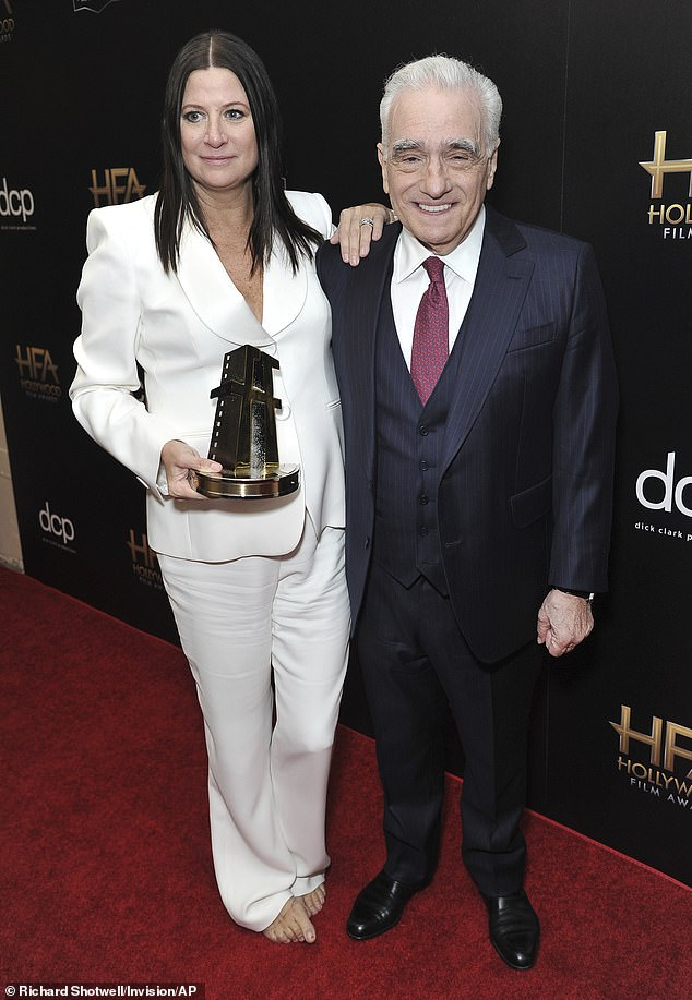Feted: The Irishman director Scorsese presented Emma Tillinger Koskoff with the Hollywood Producer award at the event