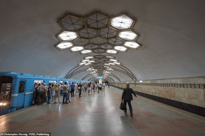The stations along the Tashkent Metro are among the most beautiful in the world and one of the top attractions in the Uzbek capital. Novza station, on the red Cholonzor line, opened in November 1977 and is characterised by its low ceiling featuring geometrical honeycomb patterns