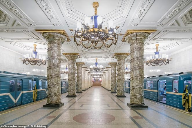 Opulent chandeliers, marble columns, stately mosaics and memorials adorn the platforms at Avtovo station on the Kirovsko-Vyborgskaya Line of the Saint Petersburg Metro. Designed by architect Yevgeniy Levinson, it opened as part of the first Leningrad Metro line in November 1955