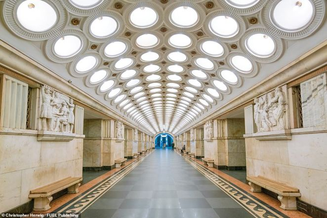 Elektrozavodskaya, a station on the Moscow Metro on the Arbatsko-Pokrovskaya line, is one of the most spectacular stations in the Russian capital. It was built during World War II and opened in May 1944. Named after the electric light bulb factory nearby, its ceiling features six rows of circular incandescent inset lamps