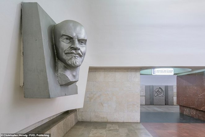 Ploshchad Ilyicha is a station on the Moscow Metro's Kalininsko-Solntsevskaya Line, launched in December 1979. The station has strong associationswith Vladimir Lenin, the former communist leader, and is adorned with the sculpture of him pictured here as well as artworks depicting symbols such as the hammer and sickle