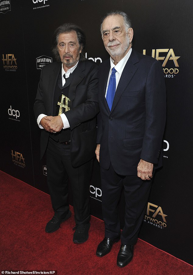 All-time greats: Coppola collected five Academy Awards in his career including Best Director and Best Picture in 1974 for The Godfather, in which Pacino played Michael Corleone