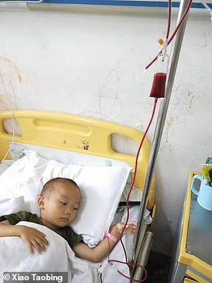 His father, 37-year-old Xiao Taobing, has run into debts in order to pay for the blood transfusions