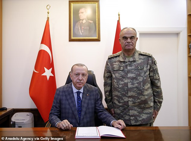 Turkish President Recep Tayyip Erdogan (left), it is claimed, got wind of the alleged Kushner-MBS phone call and then used the information to force President Trump to remove American troops from northern Syria. A White House official dismissed the claim as 'false nonsense'