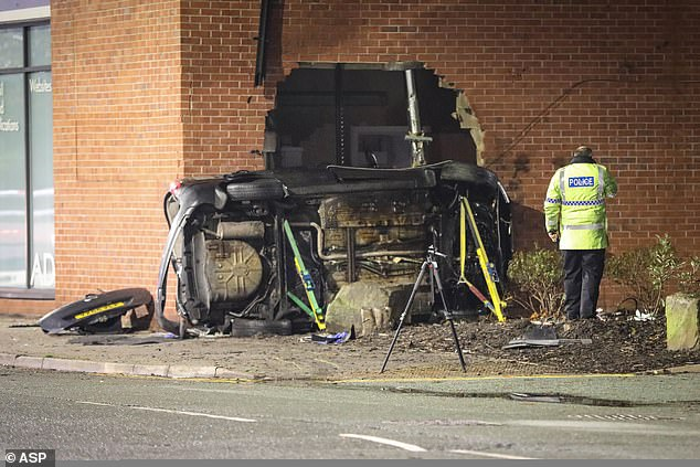 Police said they attempted to stop a Ford Fusion on Burnage Lane in Burnage, Manchester, at 9.25pm on Sunday, but it fled before crashing into a wall