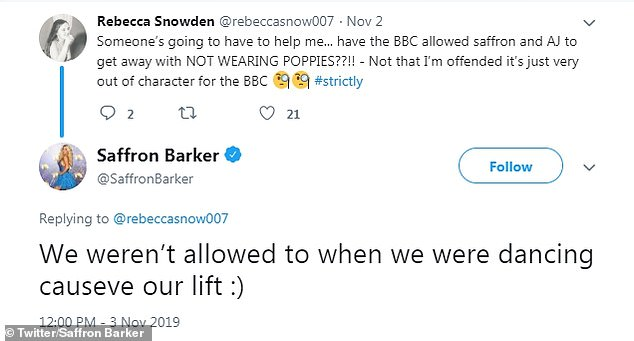 Clarification:Media personality Saffron tweeted on Sunday following the results show: 'We weren¿t allowed to when we were dancing causeve our lift :)' [sic]