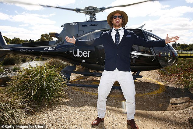 High-flyer! He arrived to the racecourse in an UberCHOPPER and appeared thrilled with his ride