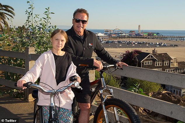 Arnold Schwarzenegger went on a bike ride around Santa Monica with teen Greta Thunberg