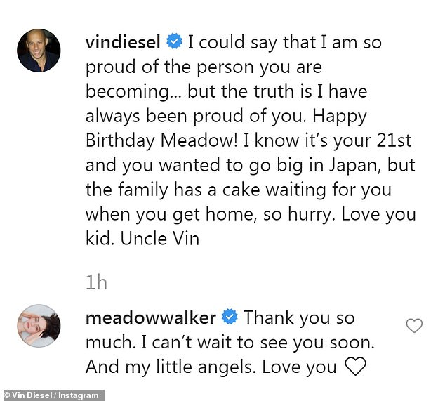 Happiness:The Fast & Furious star posted a photo of Meadow, who is also his goddaughter, and captioned it: 'I could say that I am so proud of the person you are becoming... but the truth is I have always been proud of you'