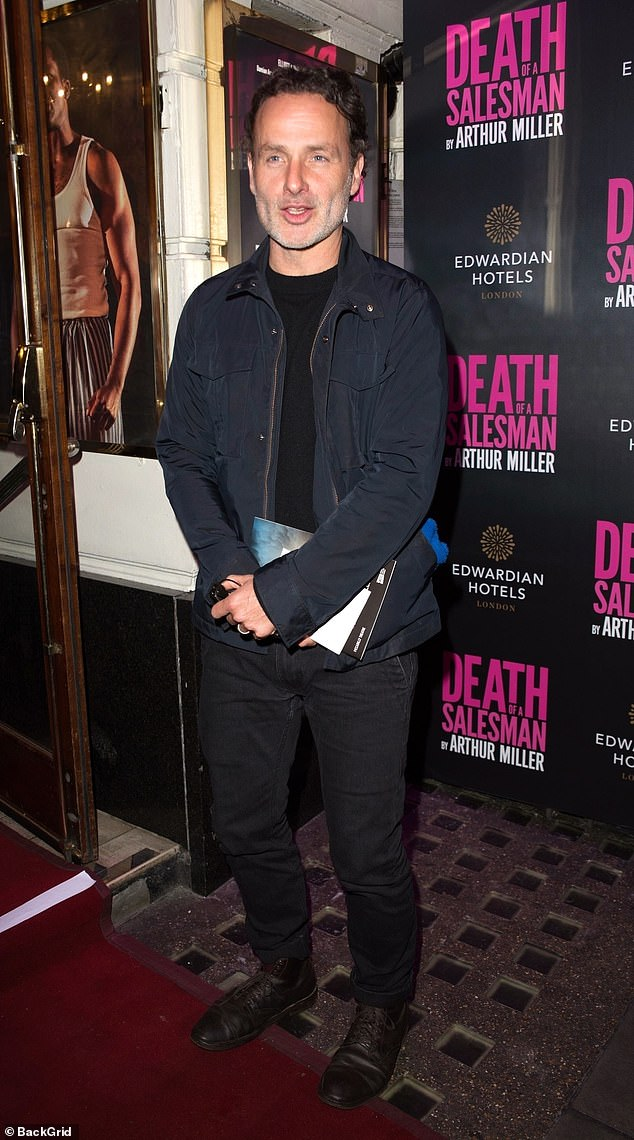 Casual: The Walking Dead star Andrew Lincoln kept it causal for the evening in a dark bomber jacket with black jeans and a matching top
