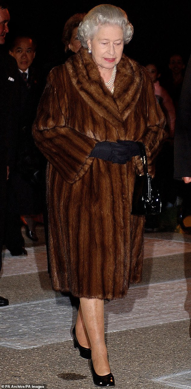 The Queen wearing a brown fur coat in Winnipeg, in Canada, in 2002 during celebrations of her Royal Golden Jubilee