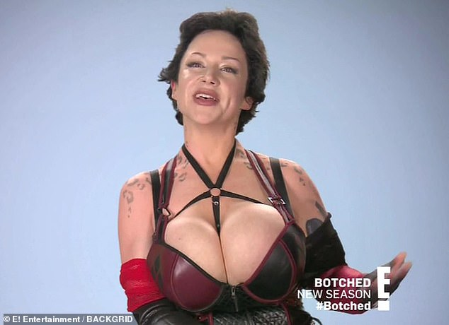 Booby woes: Cosplay star Gia Gotham, 33, appeared on Monday night's season six premiere of the E! reality series Botched in the hope of fixing her wonky 2050cc implants