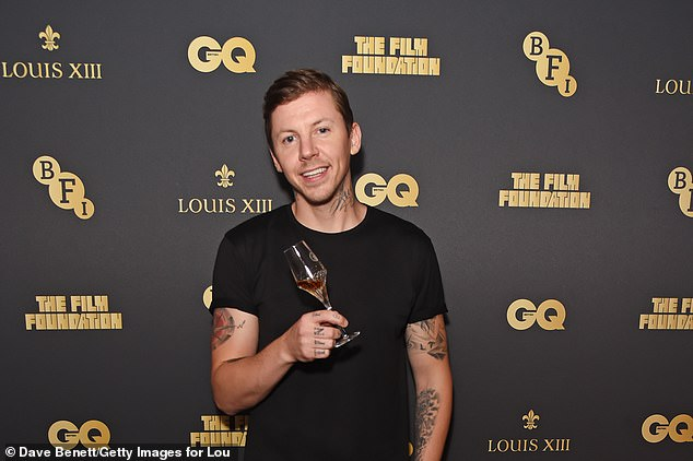 Cheers: Pro Green was enjoying himself at the event, which was hosted by Louis XIII Cognac and The Film Foundation