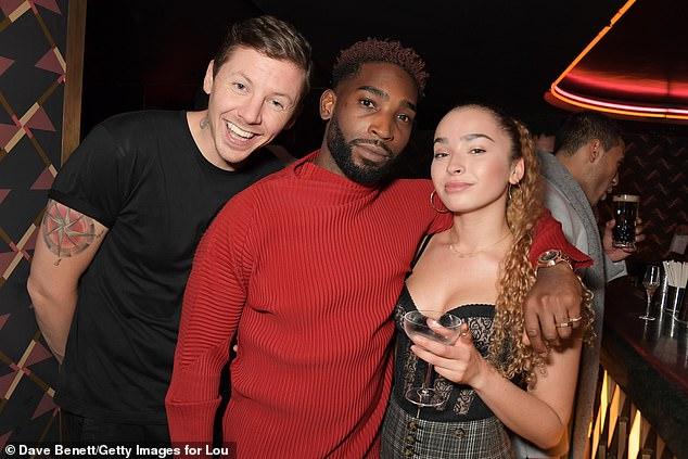 Terrific trio: Tinie was seen catching up with Ella at the bash, where they were joined by the likes of Professor Green