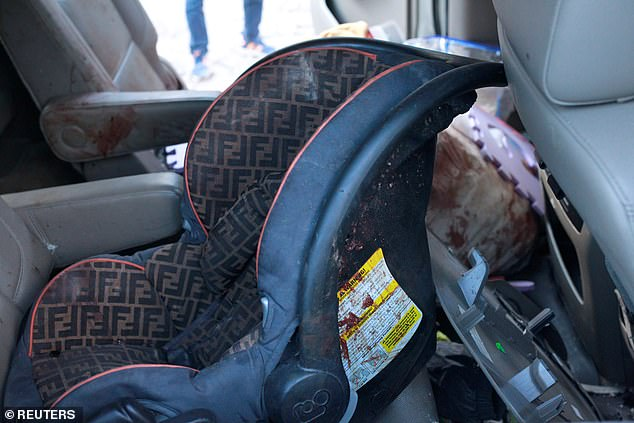 Harrowing images from the scene of the slaughter of three Mormon mothers and six of their children after cartel gunmen opened fire show a blood stained baby's car seat, pictured