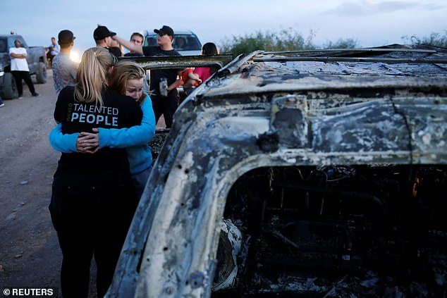 Police confirmed they have arrested a suspected drug lord after the killings which left one vehicle torched and riddled with bullets. The state prosecutor's office said one person was detained on Tuesday in the Mexican border state of Sonora and they were investigating whether they were involved in the massacre
