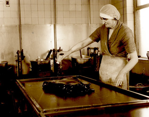 An old photograph shows a female worker making the Mint Balls. They became popular with miners in Lancashire to start with
