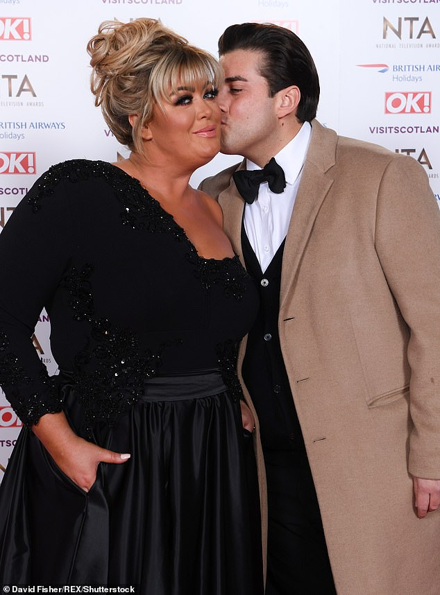 On AGAIN:Gemma Collins and James 'Arg' Argent are back together again after jetting off on holiday to Dubai in a final bid to resolve their issues (pictured in January)