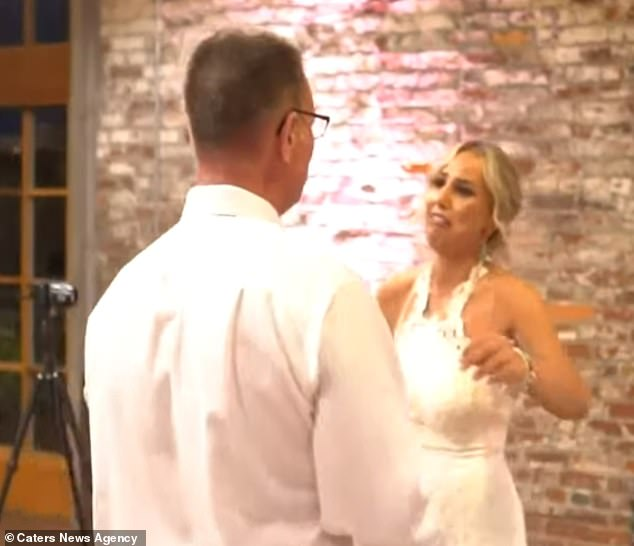 After Al performed the song via sign language his daughter was emotional and they hugged at the reception