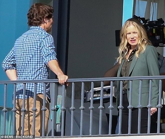 Mystery: James Marsden was glimpsed filming a balcony scene for season two of Dead To Me with Christina Applegate in Hermosa Beach on Tuesday