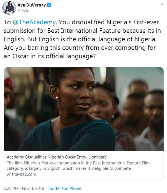 Nigeria's Lionheart was disqualified from the Best International Feature Film category for the Oscars 2020 prompting responses from the likes of Ava DuVernay