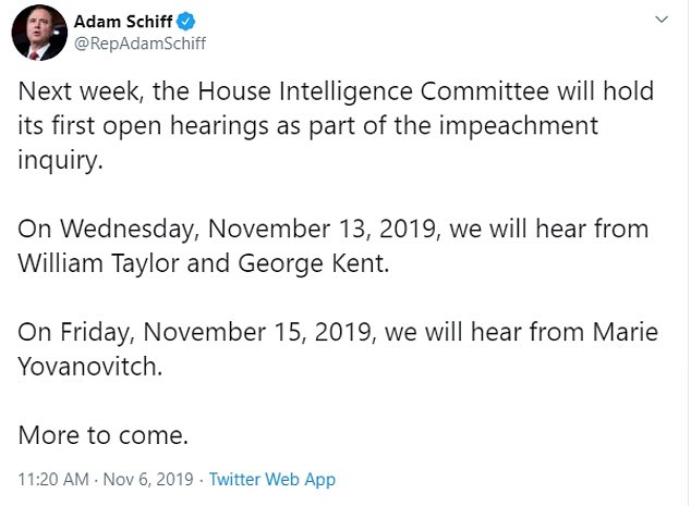 Schiff announced the schedule of public hearings on Twitter