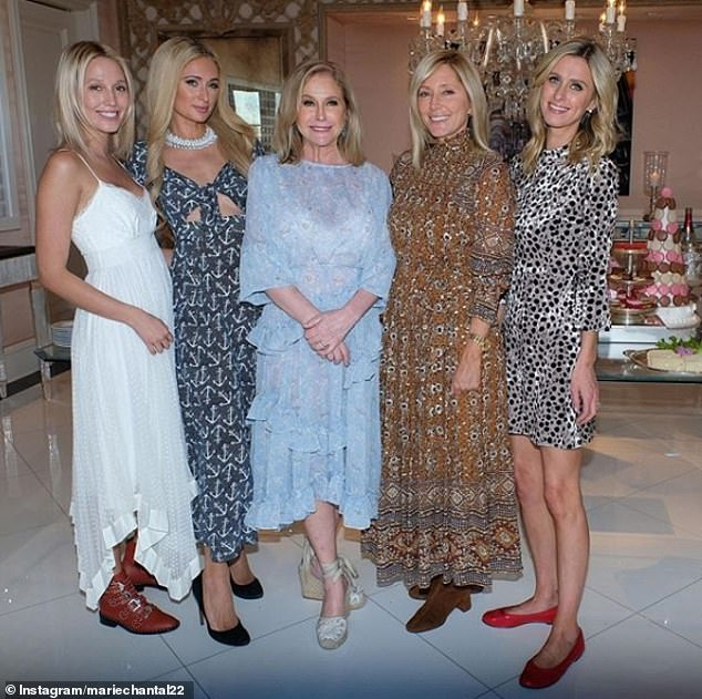 Hostess with the mostess: Kathy Hilton, centre, with daughters Paris (second from left) and Nicky (far right) and guests Princesses Olympia (far left) and Marie-Chantal of Greece